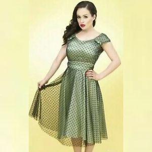 Stop Staring Dress mint green w/ black polka dots